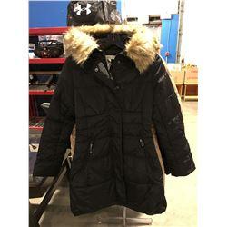 COSTA BLANCA FAUX  FUR LINED COLLAR LADIES LONG WINTER COAT BLACK SIZE M