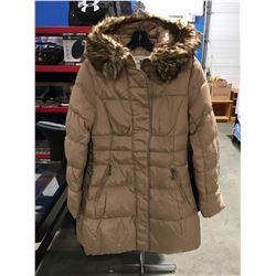 COSTA BLANCA FAUX  FUR LINED COLLAR LADIES LONG WINTER COAT BEIGE SIZE S