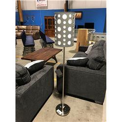CONTEMPORARY GREY & CHROME FLOOR LAMP