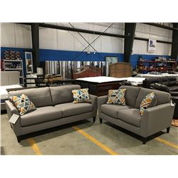 CONTEMPORARY 2 PCE GREY UPHOLSTERED SOFA & LOVE-SEAT SET WITH 4 THROW CUSHIONS