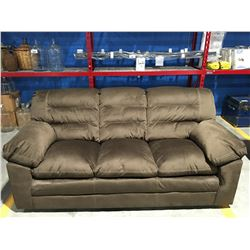 BROWN MICROFIBER UPHOLSTERED 3 SEATER OVER-STUFFED SOFA