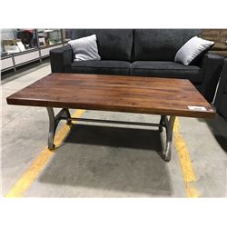 CONTEMPORARY RUSTIC LOOK SOLID WOOD & METAL COFFEE TABLE
