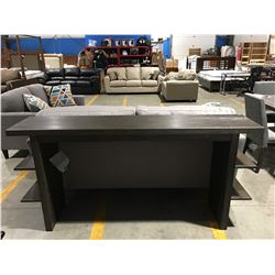 CONTEMPORARY GREY WOOD FINISH LONG DISPLAY TABLE