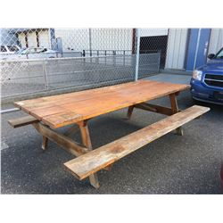 SOLID WOOD WELL CONSTRUCTED PICNIC TABLE