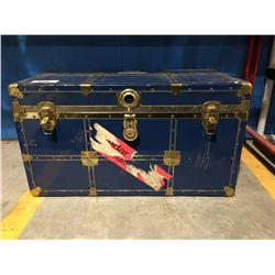 BLUE & BRASS VINTAGE STEAMER TRUNK WITH KEY