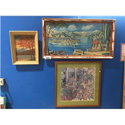 GROUP OF 3 FRAMED PICTURES, PRINTS & ORIGINAL ART PAINTING