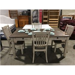 CONTEMPORARY TWO-TONE BEIGE DINING TABLE WITH 4 CHAIRS FEATURES 6 IN TABLE DRAWERS