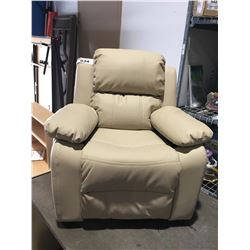 CHILDS BEIGE LEATHER UPHOLSTERED RECLINER