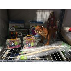 SHELF LOT OF ASSORTED KIDS TOYS - GIANT BEACH BALL, DINOSAUR, RADIO CONTROLLED GARBAGE TRUCK ECT