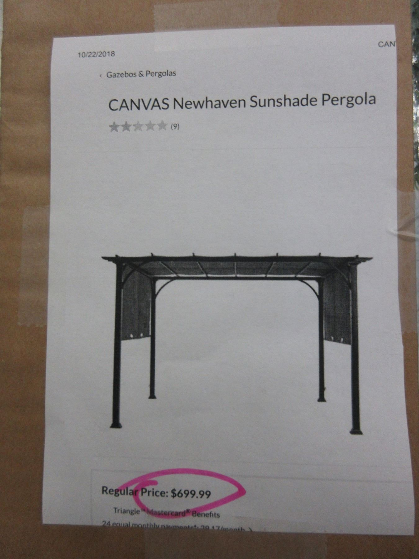 NEW HAVEN CANVAS SUN SHADE PERGOLA 10 X 10 X 7' on Canvas Sun Shade Pergola id=13760