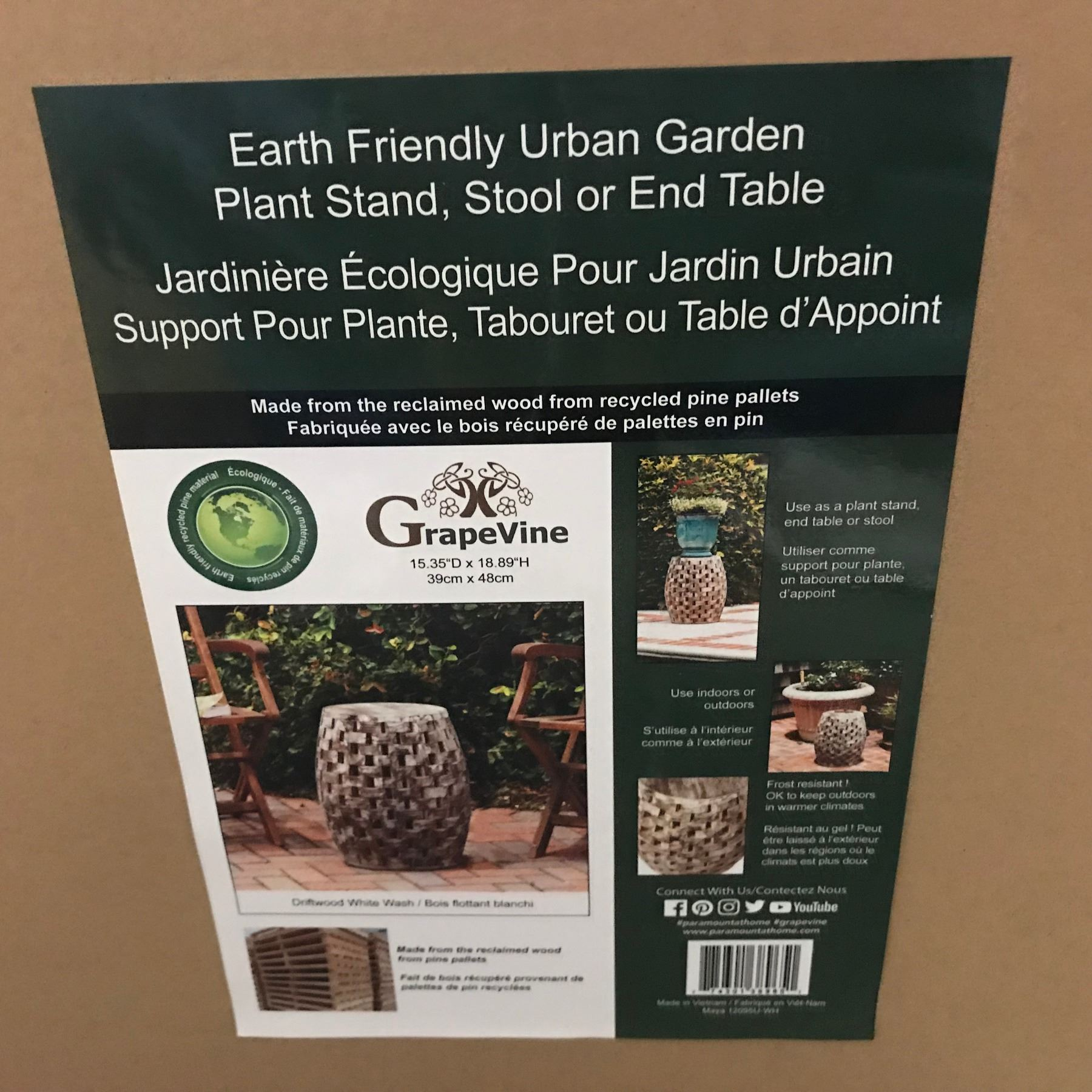 NEW GRAPEVINE EARTH FRIENDLY URBAN GARDEN PLANT STAND/STOOL ...