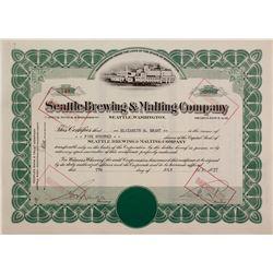 Seattle Brewing & Malting Co.Stock Cert.