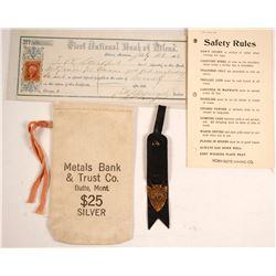 Bank Bag for Silver; First National Bank of Helena Deposit Slip