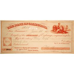 Bank of California Duplicate of Exchange to be Paid at the New York Office, 1877