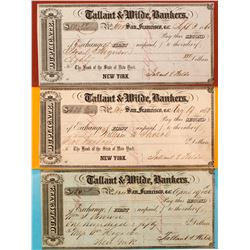 Three Tallant & Wilde, Seconds of Exchange, California Gold Rush