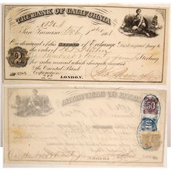 Bank of California Second of Exchange w/ California Revenue Stamps