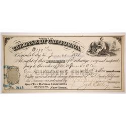 Bank of California Duplicate of Exchange, Virginia City, Nevada 1878