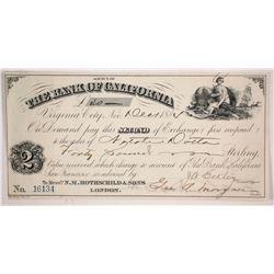Bank of California Second of Exchange, Virginia City, Nevada 1884