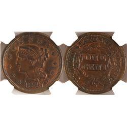 1847 Cent, AU details, NGC