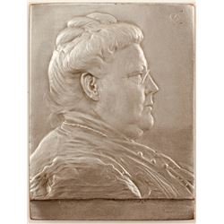 Silver Mini-plaquette of a Older Woman