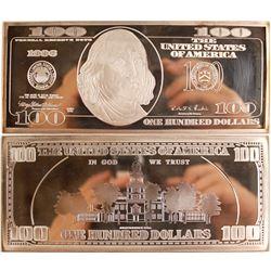 $100 Silver Proof Ingot