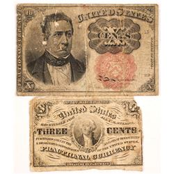 Two Pieces of Fractional US Currency