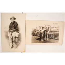 Two Real Photo Postcards of Armed Cowboys