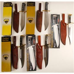 A Group of Five Bowie knives by Timber Rattler
