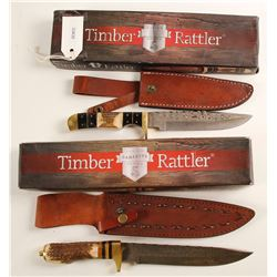 A Pair of Damascus blade Sheath knives by Timber Rattler