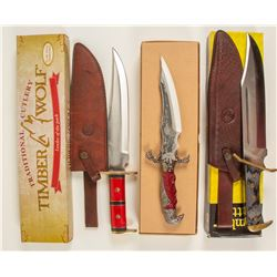 Eagle Claw dagger knife and tow Bowie style knives