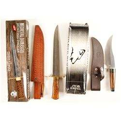 Timber Wolf brand bowie and skinner knives