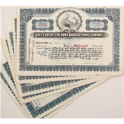 Colt's Patent FIre Arms Manufacturing Company Stock Certificates  from the 1930's