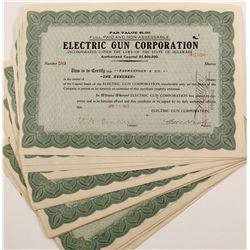Stock Certificates for the Electric Gun Corporation