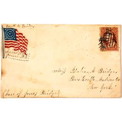 """Civil War Patriotic Cover with handwritten """"Death to Traitors"""""""