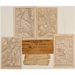 Adams Express Soldier's Package and 4 Civil War Maps