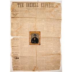 Civil War Confederate Portrait and Newspaper