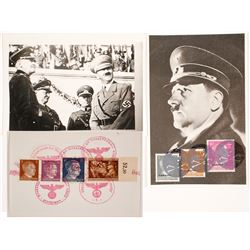 Two WWII Photos of Hitler with Stamps Attached