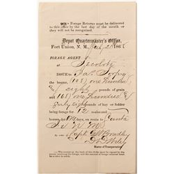 Early Ft. Union, New Mexico Territory Document