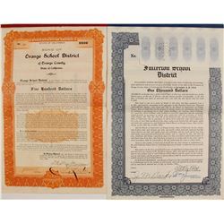 California School Bonds (2) Orange School District; Fullerton School District