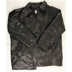 Men's Black Leather Car Coat