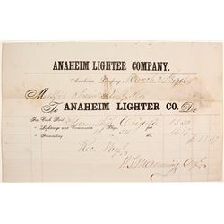 Anaheim Lighter Company Billhead