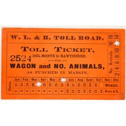 Walker Lake & Benton Toll Road Toll Ticket