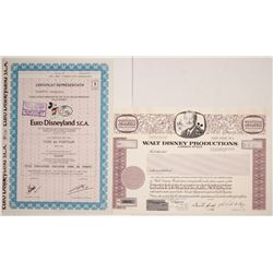 Two Disney Stock Certificates