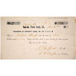 F. & A.M. Lodge Receipt for Rich Bar / Taylorsville, CA