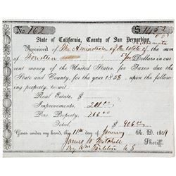 Tax bill for the estate of Aramata, 1858
