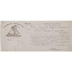 Schooner Pictorial Billhead in 1868 from Suisun to San Francisco