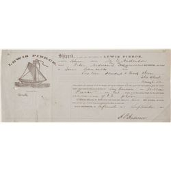 Schooner Pictorial Billhead in 1868 from Suisun to San Francisco