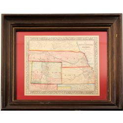 framed map of Colorado, Kansas and Nebraska