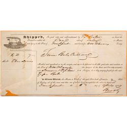 1849 New Orleans Riverboat Bill of Lading