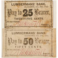 Lumbermans' Bank 25 and 50 Cents Pay to Bearer